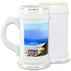22 oz. Beer Stein with Gold Trim