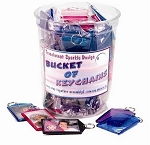 Item # 5984Bucket - 60 Assorted Translucent Sparkle Keytags