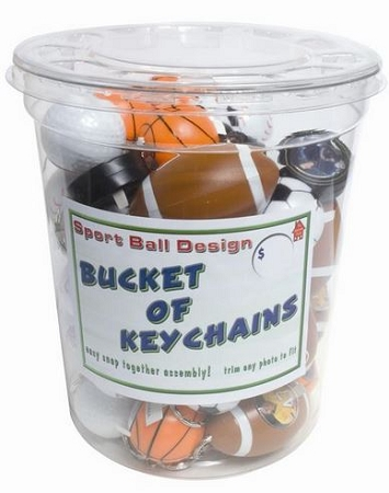 Item #730Bucket  - 48 Assorted Sport Ball Keychains