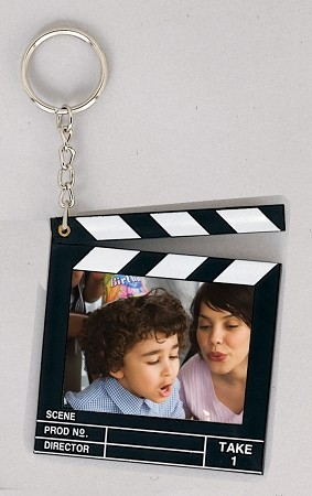 Item # 877 - Clapboard Key Chain - Snapin - 2  x 1 1/2